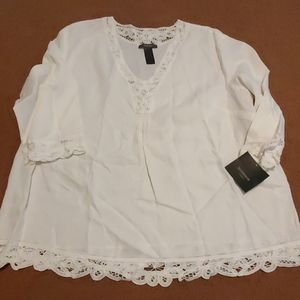 Nwt linen liz Claiborne 2x shirt tunic with lace